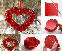 Homemade Valentine Decorations by Creative Ideas Diy Heart Shaped Paper Rose Valentine Wreath