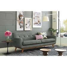 Gray Leather Sofas Queen Mary Smoke Grey Leather Loveseat Emfurn