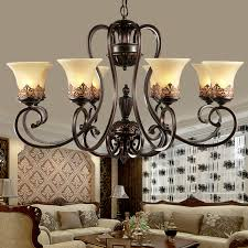 Vintage Glass Chandelier Retro Vintage Chandeliers 8 Lights Black Painting Resin Metal