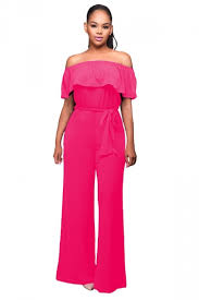 palazzo jumpsuit womens shoulder ruffled lace up palazzo jumpsuit