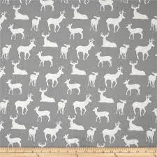 Upholstery Fabric Prints Premier Prints Deer Silhouette Cool Grey Discount Designer