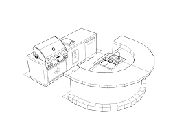 9300 series barbecue island design with and cold round bar