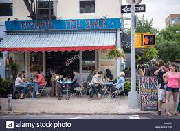 coffee shop in new york sidewalk cafe in the trendy hipster williamsburg neighborhood of