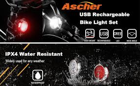 ascher usb rechargeable bike light set bright