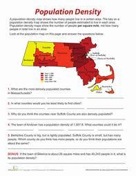population density worksheets worksheets