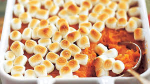 thanksgiving sweet potato yam casserole with marshmallows