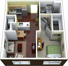 Small Apartments Plans Apartment 3d Small Modern One Bedroom Apartment Using Queen Sized
