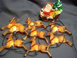 vintage kurt adler santa sleigh reindeer lighted