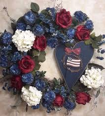 patriotic flower wreath usa american door wall decoration