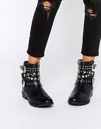 s boots biker asos asos agro leather studded biker boots