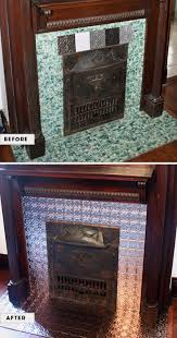 Embossed Tin Backsplash by Faux Tin Tile Fireplace Makeover Wallpaper Desktop Zones