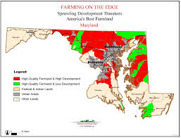 State Of Maryland Map by Farming On The Edge State Maps American Farmland Trust