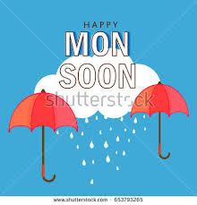 happy monsoon umbrella background rainy season stock vector