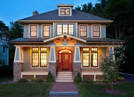 American Builders And Craftsmen Symmetrical American Foursquare Style Incorporates Elements Of