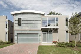 front view of new modern luxury home stock photo picture and