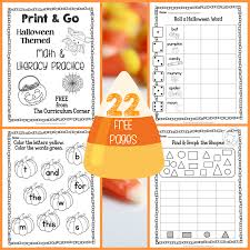 halloween print u0026 go math and literacy practice the kinder corner