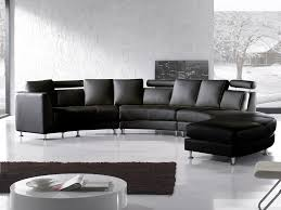 round leather sofa sectional settee 7 seater in black