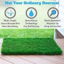 Amagabeli Wipe Your Paws Doormat Amazon Com Artificial Grass Doormat With Smartdrain Technology