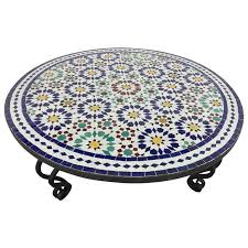 moroccan round coffee table moroccan mosaic round tile coffee table on iron base for sale at 1stdibs