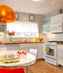 kitchen accents ideas orange accents kitchen ideas with wooden floor and dining table