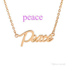wholesale peace the letter pendant necklace silver gold plated
