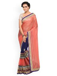 peach saree buy peach color sarees online myntra