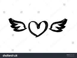 heart wings love symbol ink hand stock vector 556917226 shutterstock