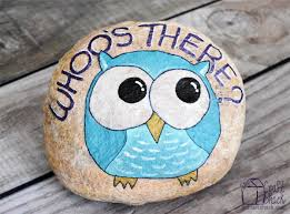 painted owl rock whoo u0027s there crafts pinterest owl rocks
