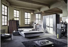 Schlafzimmer Bett Ecke Schlafzimmer Mit Bett 180 X 200 Cm Industrial Print Optik Graphit