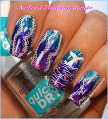 nail art stamping mania ocean manicure with nail foil and