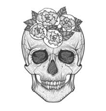 tribal skulls with roses tattoos vector images 46