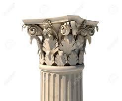 Greek Column Pedestal Corinthian Column Capital Isolated On White Stock Photo Picture