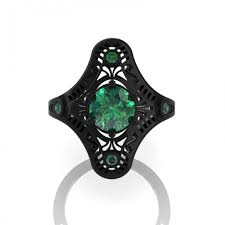 mexican art deco 14k black gold 1 0 ct emerald engagement ring