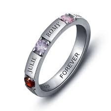 mothers ring with names sterling silver personalized 3 birthstone 4 name s ring