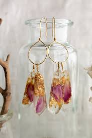 eco earrings purple dangle eco friendly resin jewelry earrings with pressed