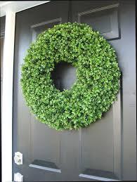 year wreath front door decor faux boxwood wreath