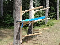 Free Standing Kayak Storage Rack Plans by 3 Place Kayak Rack Free Standing Log Kayak U0026 Canoe Storage