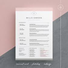 millie resume cv template word photoshop instant download