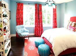 red and blue curtains turquoise blue red teen girls bedroom with