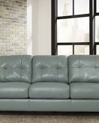 tufted top grain faux leather loveseat and sofa in teal sam