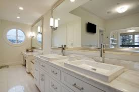 vintage style white bathroom vanity with short and long wall