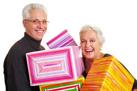 senior citizens gifts senior citizens with gifts stock photo image of relationship