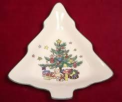 2 nikko happy holidays small tree shaped dishes