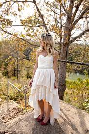 high low wedding dress with cowboy boots bohemian wedding dress with high low hem by thepeppermintpretty