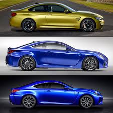 lexus rcf vs f type first comparison look at bmw m4 versus lexus rc f