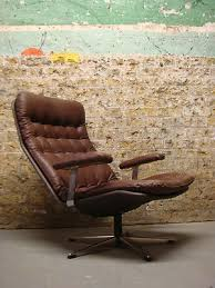 Ebay Armchairs Vintage Danish Brown Leather Swivel Armchair Retro Chair 1960s