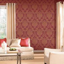 Red And Gold Damask Curtains Modern Louis Red Gold Foil Vinyl Damask Wallpaper For Walls