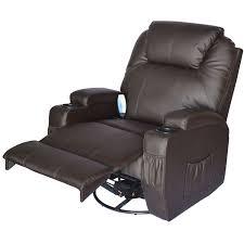 swivel recliner homcom massage heated pu leather 360 degree swivel recliner chair