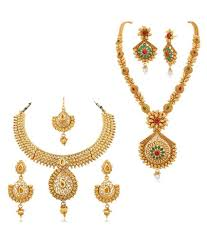 women necklace set images Rg fashions jewellery golden necklace set for women pack of 2 jpeg