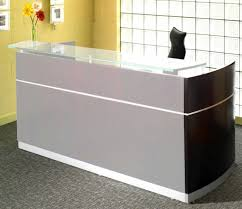 Glass Reception Desk Wrap Around Reception Desk Modern Wood And Glass Reception Desk